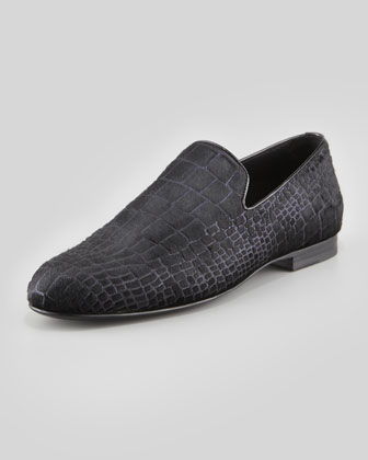 Sloane Croc-Print Calf Hair Slipper,