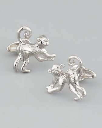 Monkey Sterling Silver Cuff Links