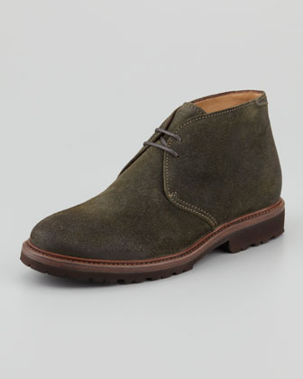 Waxed Suede Chukka Boot, Green