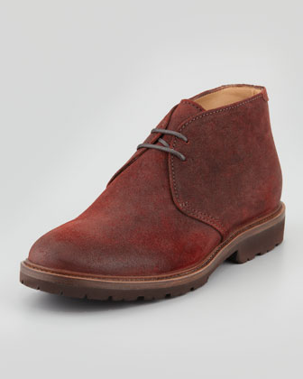 Waxed Suede Chukka Boot, Red