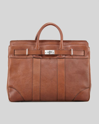 Turn-Lock Leather Briefcase, Cognac