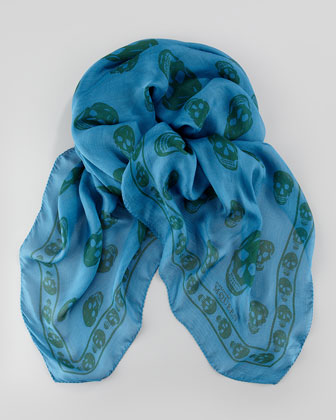 Men's Skull Chiffon Scarf, Blue/Green