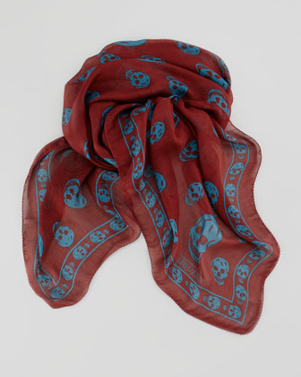 Men's Chiffon Skull Scarf, Red/Blue