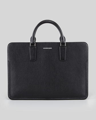 Slim Zip Leather Briefcase