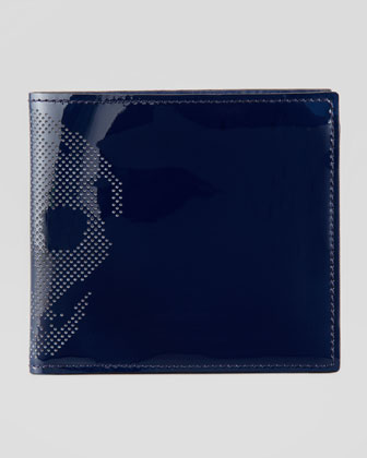 Patent Perforated-Skull Bi-Fold Wallet, Blue