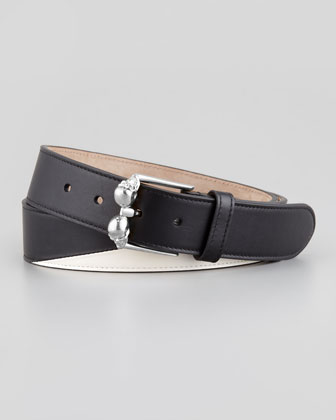 Men's Double-Skull-Buckle Belt, Black