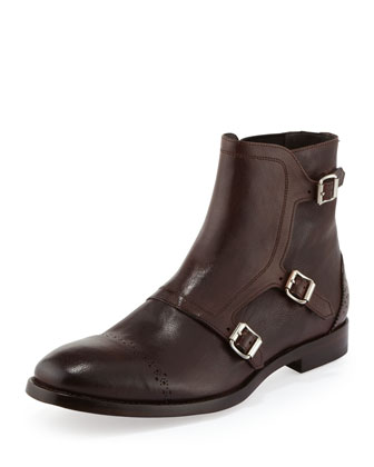 Triple-Monk-Strap Leather Boot