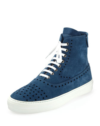 Suede Perforated Zip High-Top, Blue