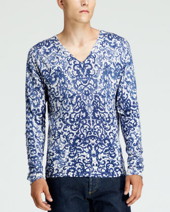 Lace-Print V-Neck Sweater, White/Blue