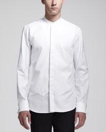 Tuxedo Shirt with Vest Detail, White