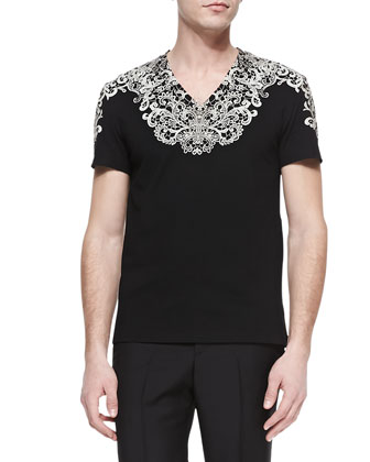 Lace-Print V-Neck Tee, Black/Oyster