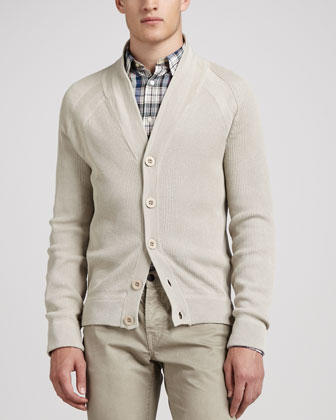 Ribbed Cotton Cardigan, Cloud