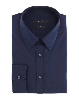 Cotton Dress Shirt, Navy
