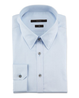 Slim-Fit Diamante Dress Shirt, Light Blue