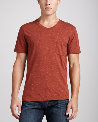 Jersey V-Neck Pocket Tee, Red