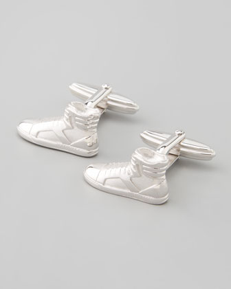 Rhodium-Plated Sneaker Cufflinks
