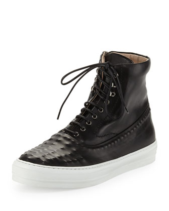 Riveted Leather High-Top Sneaker, Black