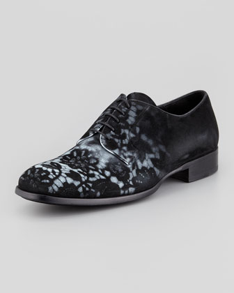 Men's Lace-Print Suede Derby