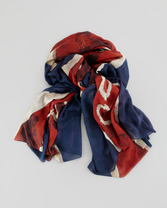 God Save McQueen Men's Scarf, Blue/Red