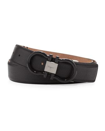 Pebbled Enamel-Gancini Belt, Black
