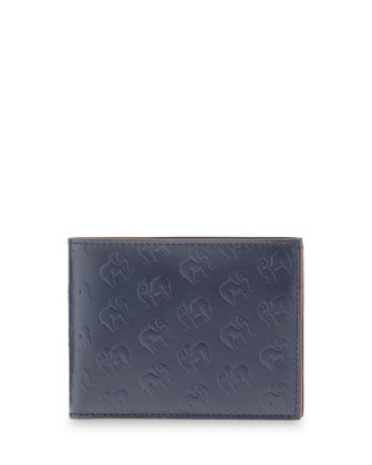 Elephant-Print Leather Wallet, Navy