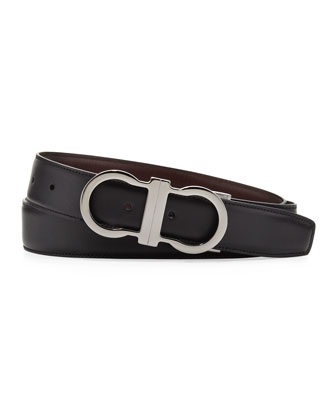 Reversible Gancini-Buckle Belt, Brown/Black