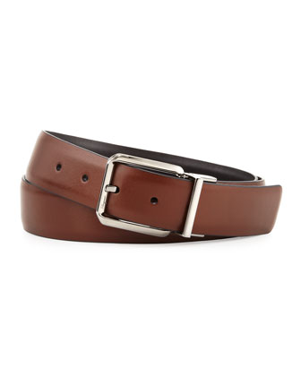 Reversible Square-Buckle Belt, Brown/Black