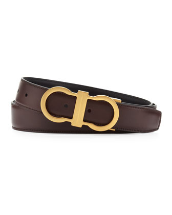 Reversible Golden-Gancini Belt, Brown/Black