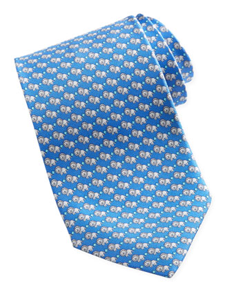 Lion-Print Silk Tie, Blue