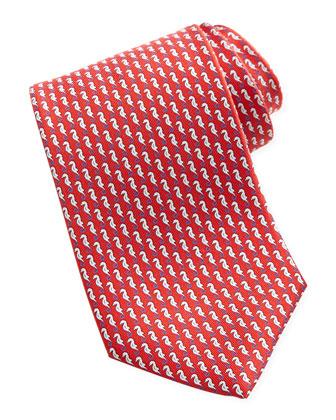 Seahorse Silk Tie, Red