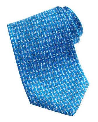 Giraffe-Print Silk Tie, Blue