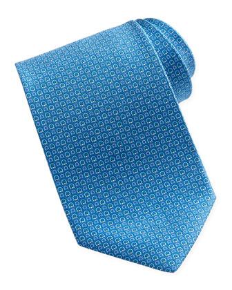 Micro-Gancini-Print Silk Tie, Blue