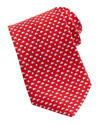 Baseball-Print Silk Tie, Red