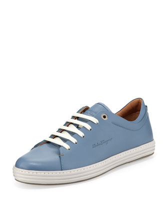 Riviera Leather Low-Top Sneaker, Blue