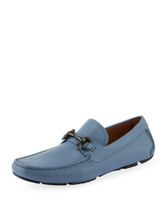 Parigi Leather Gancini Driver, Light Blue