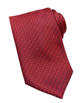 Circle/Square Neat Silk Tie, Red
