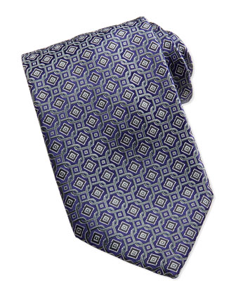 Diamond Circle-Links Silk Tie, Olive
