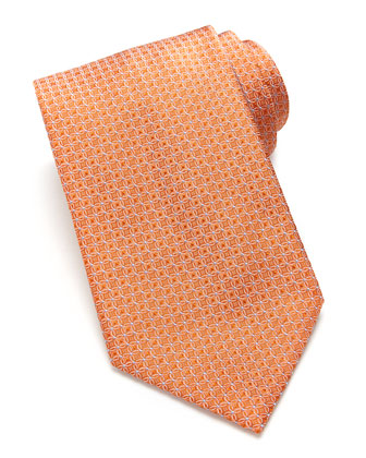 Woven Tonal-Links Tie, Orange