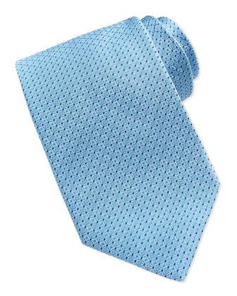 Woven Tonal-Links Silk Tie, Aqua