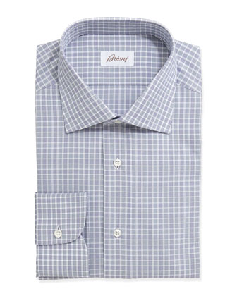 Check-Plaid Long-Sleeve Poplin Sport Shirt, Blue