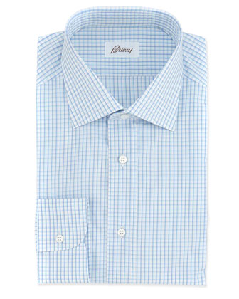 Mini-Check Woven Dress Shirt, White/Blue