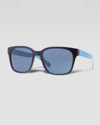 Square Logo-Arm Sunglasses, Blue