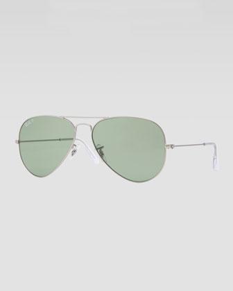 Original Aviator Sunglasses, Silver/Green