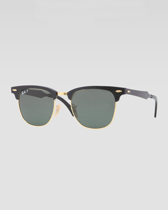 Clubmaster Aluminum Sunglasses, Black/Green