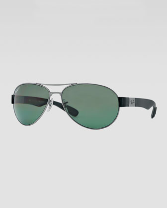 Metal Pilot Sunglasses, Gunmetal/Green