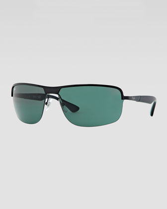 Metal Squared Half-Rimmed Sunglasses, Black/Green