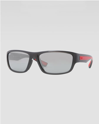 Rectangular Full-Rim Sunglasses, Gray/Red