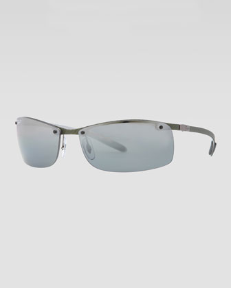 Rectangular Tech Sunglasses, Light Carbon