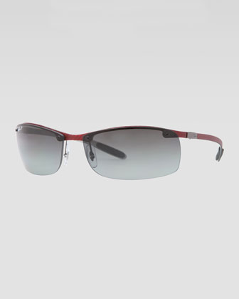 Rectangular Tech Sunglasses, Light Carbon/Red