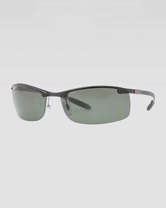 Rectangular Tech Sunglasses, Light Carbon/Green